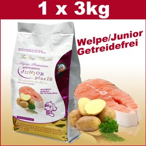 Getreidefreies Welpenfutter Trockenfutter und Junior Hundetrockenfutter Plus 18 der Extraklasse. 3 kg. Mit 18 Pluspunkten für ein optimales Wachstum Ihres Welpen